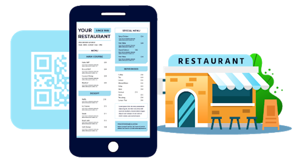 ARGO®, the QRcode Menu for restaurants, restaurant illustration, QRcode and smartphone