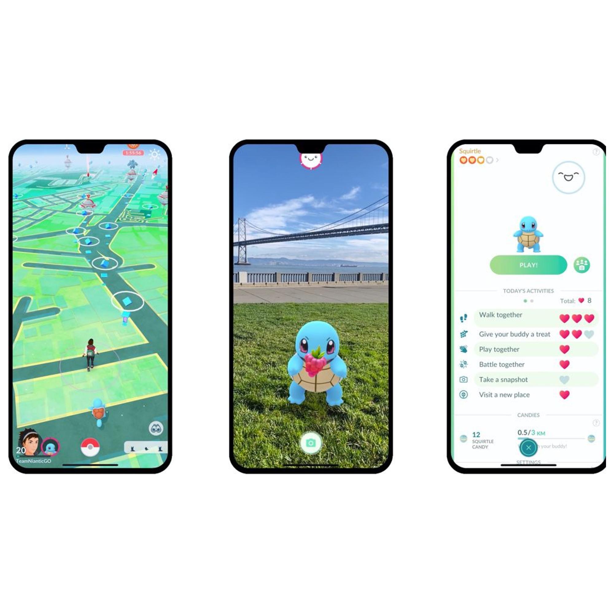 écrans de smartphone présentant de scènes de Pokemon Go, exemple de jeu de réalité augmentée