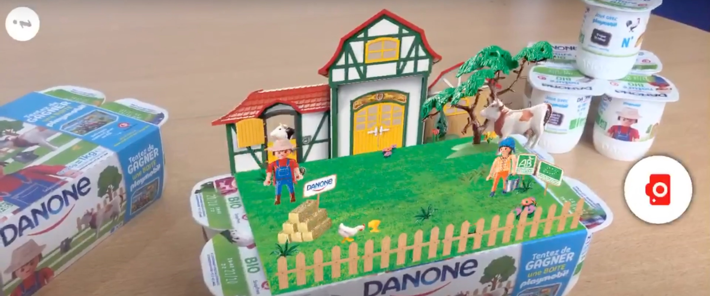 Overview of Danone's natural, organic yogurt packaging with SnapPress augmented reality technology