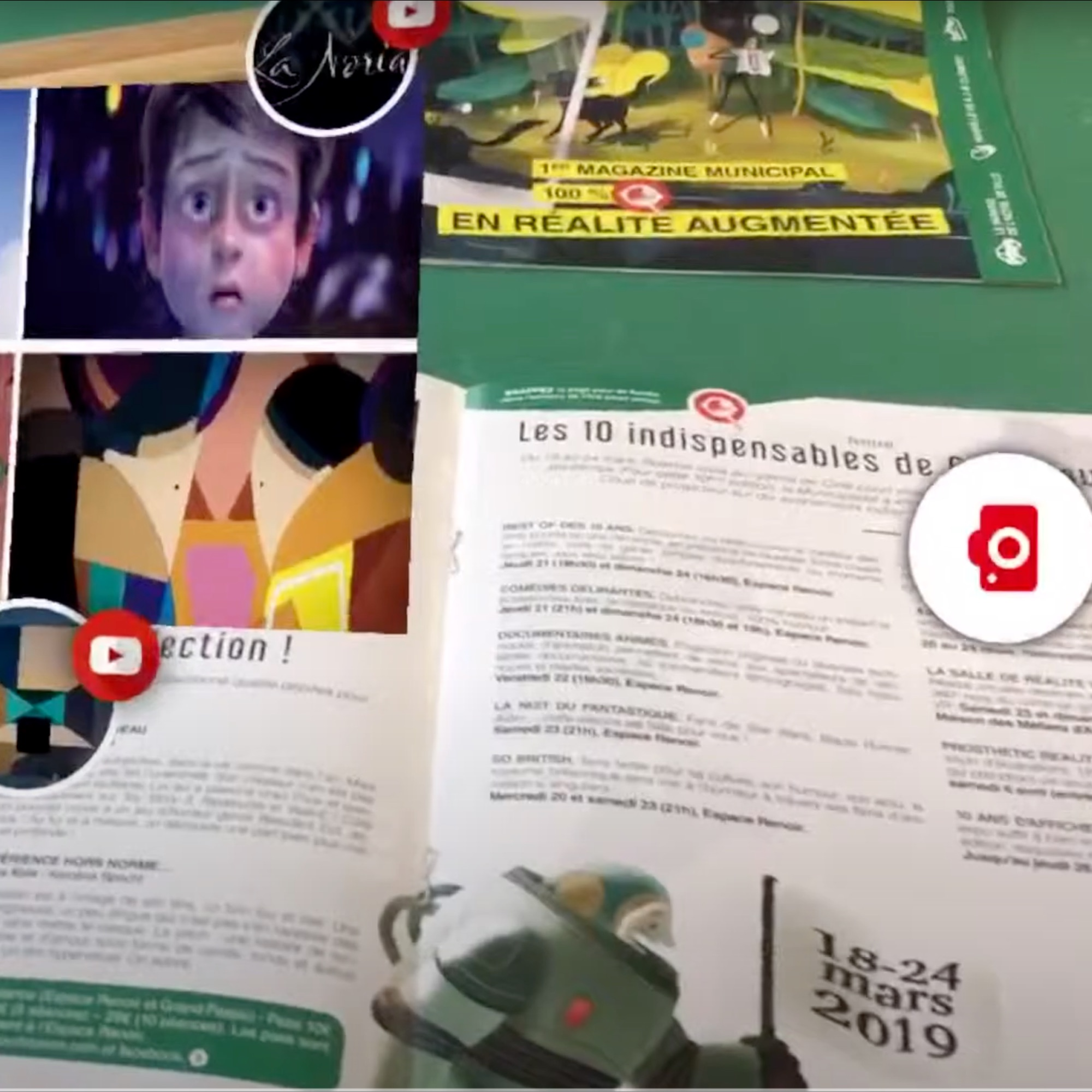 ARGOplay ex-SnapPress the native Augmented Reality solution for the public sector, available for free to end users on iOS and Android smartphones, preview of a magazine of the Agglomeration of Roanne and augmentation on a smartphone screen