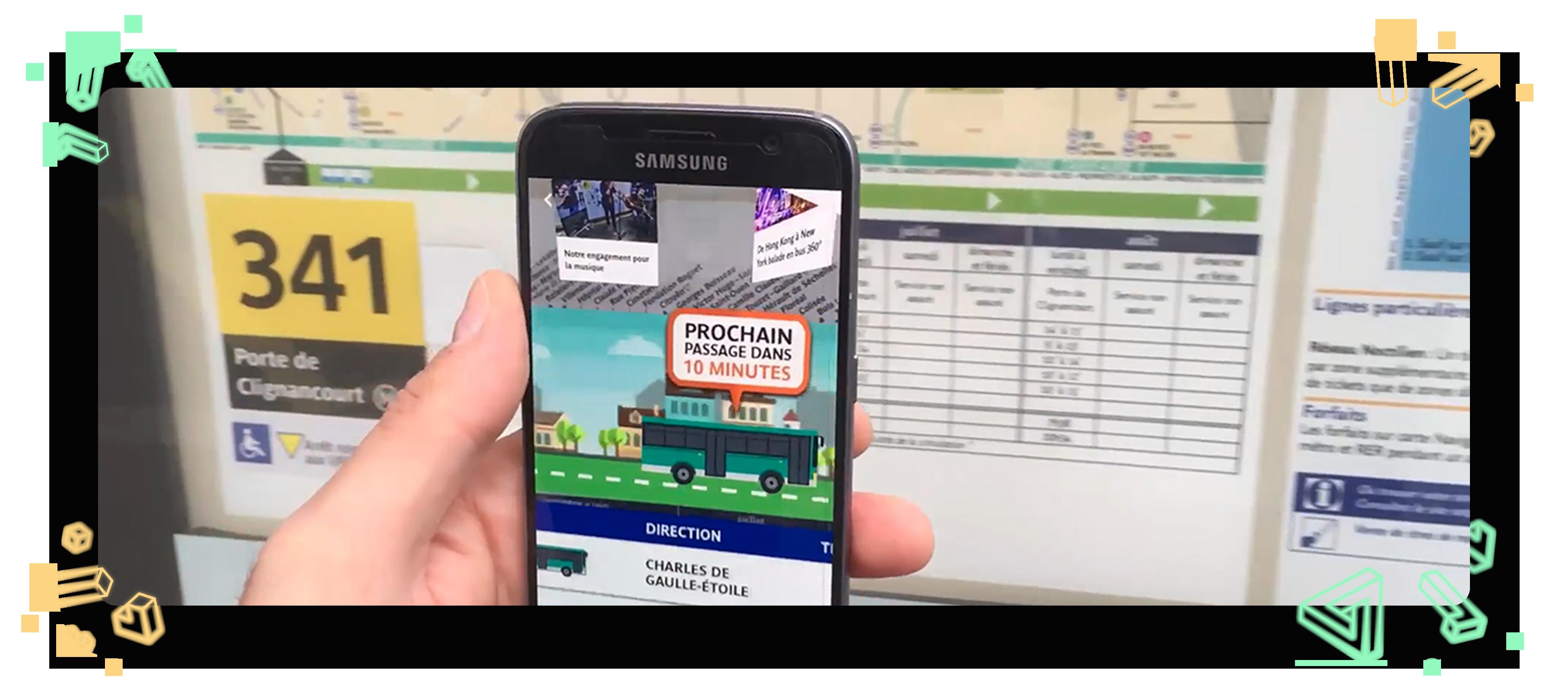 aperçu d'un écran de smartphone et d'un panneau d'itinéraire de bus RATP ligne 341