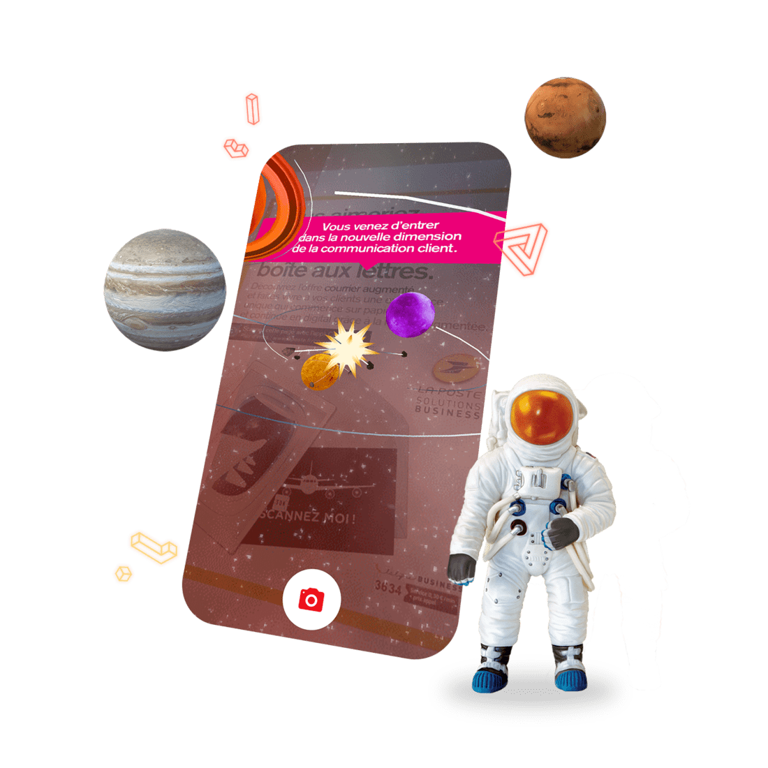Smartphone, planets and astronaut expressing the new dimension of customer communication