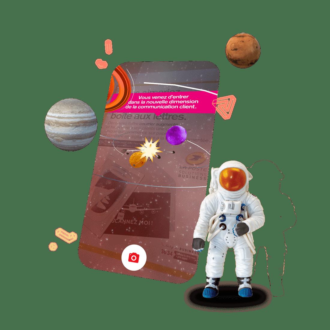 Smartphone, planètes et astronaute exprimant la nouvelle dimension de la communication client