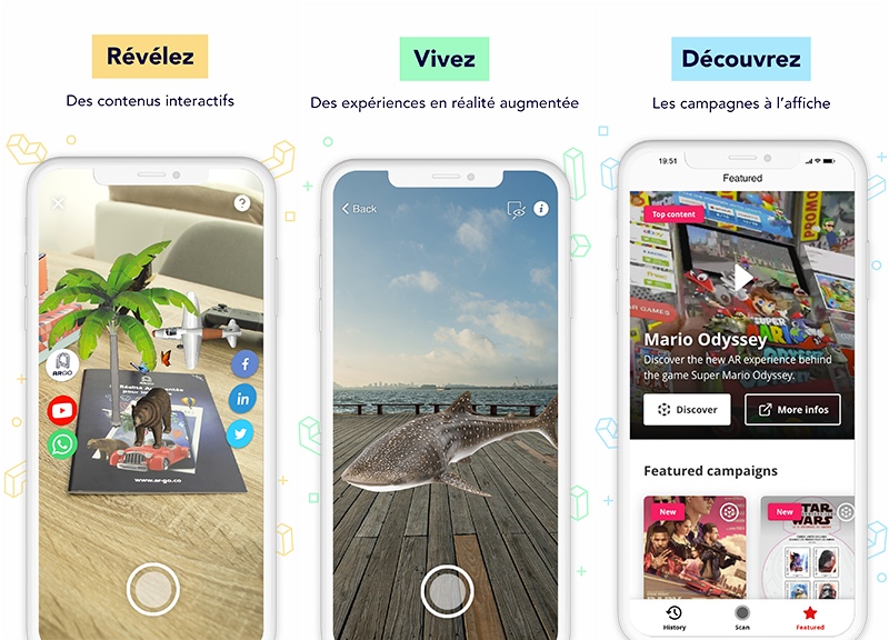 ARGOplay ex-SnapPress la solution de réalité augmentée native pour le retail, le commerce et les biens de consommation, disponible gratuitement pour les utilisateurs finaux sur smartphones iOS et Android, aperçu d'un écran de smartphone